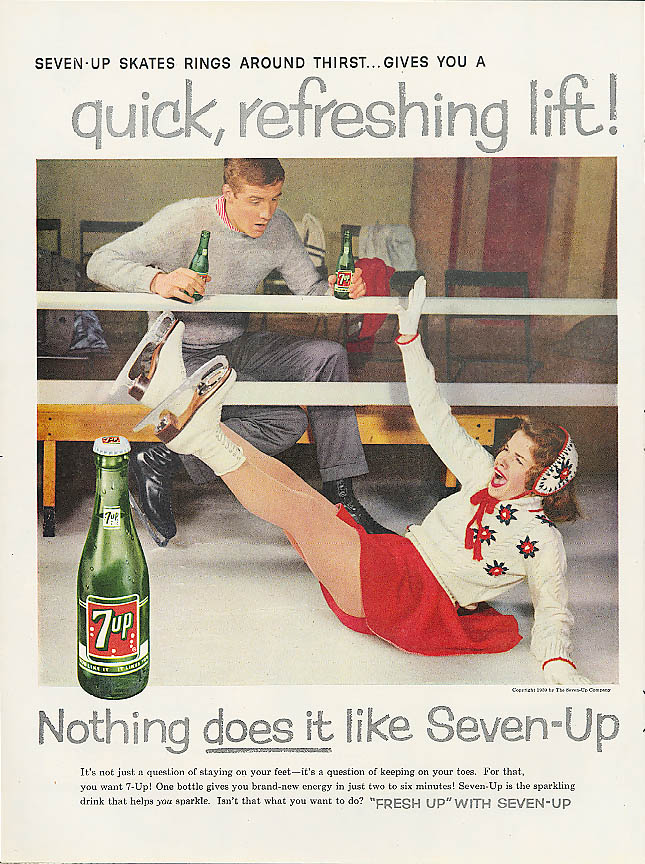 Image for Rings around thirst 1959 7up ad girl ice skater falls!
