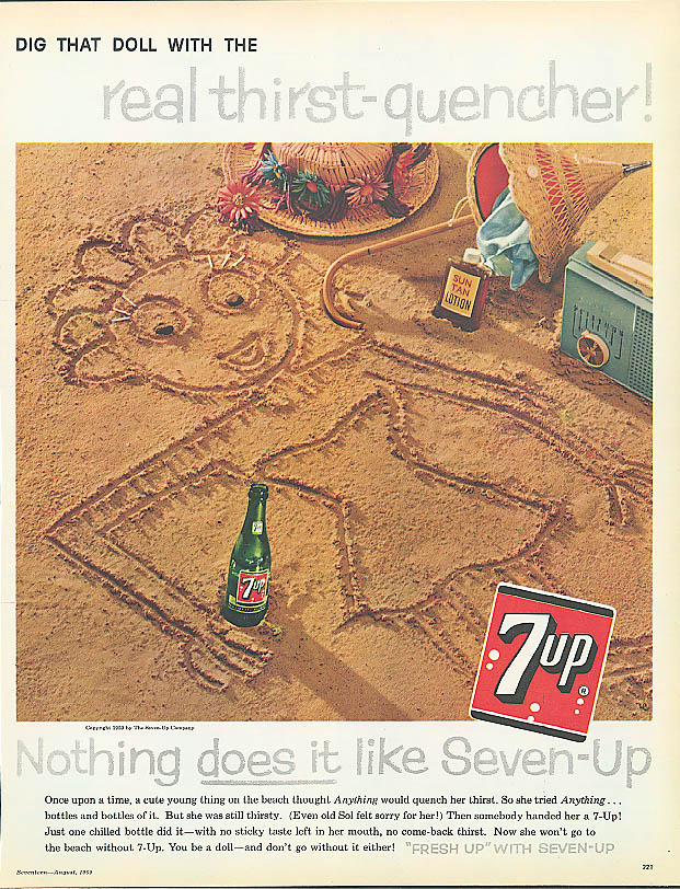 Image for Dig that doll 1959 7up ad girl drawn in beach sand