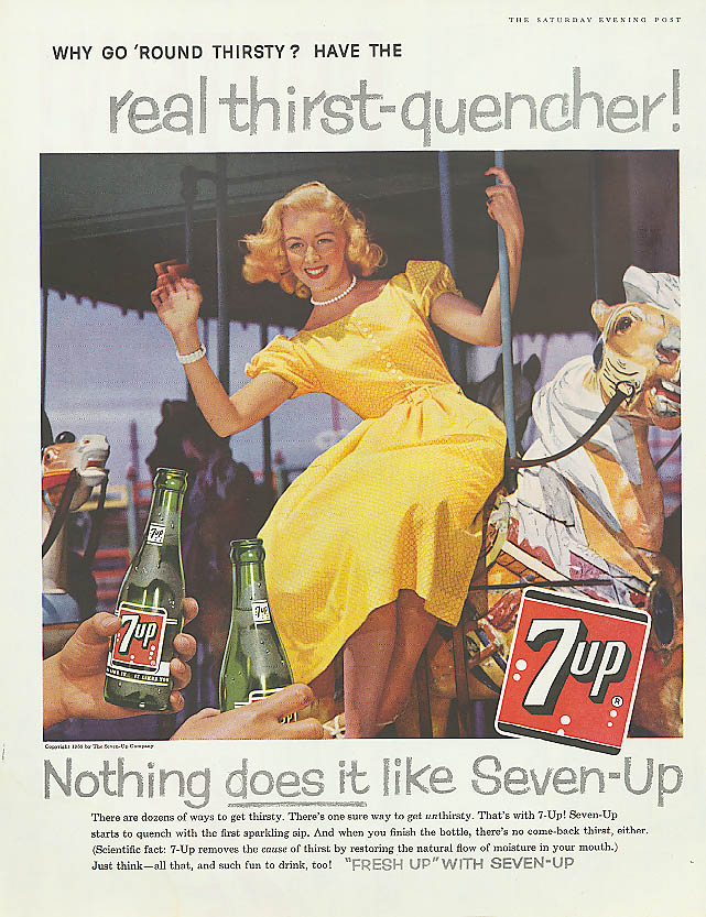 Image for Why go 'round thirsty? 1959 7up ad blonde on carousel