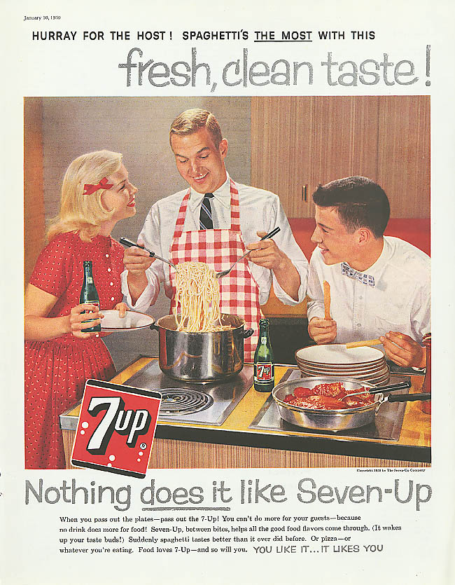 Image for Hurray for the Host! Spaghetti's the Most 1959 7up ad