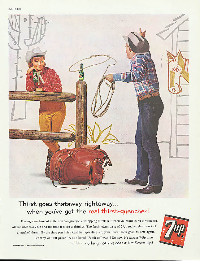 Image for Thataway rightaway 1960 7up ad cowboy cowgirl lariat