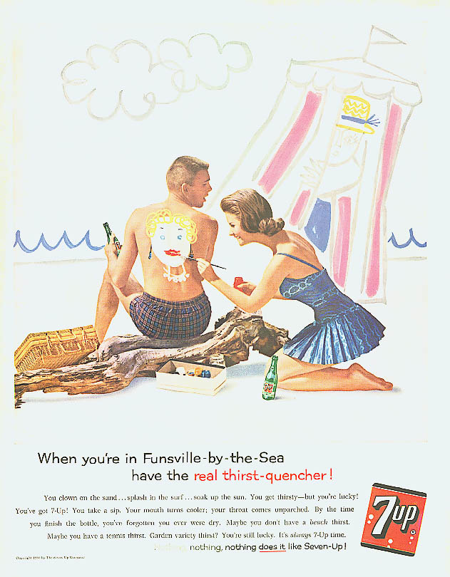 Funsville-by-the-Sea 1960 7up ad girl paints boy's back