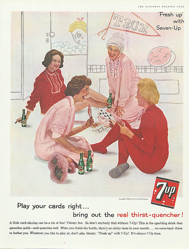 Image for Play your cards right 1960 7up ad slumber party PJs