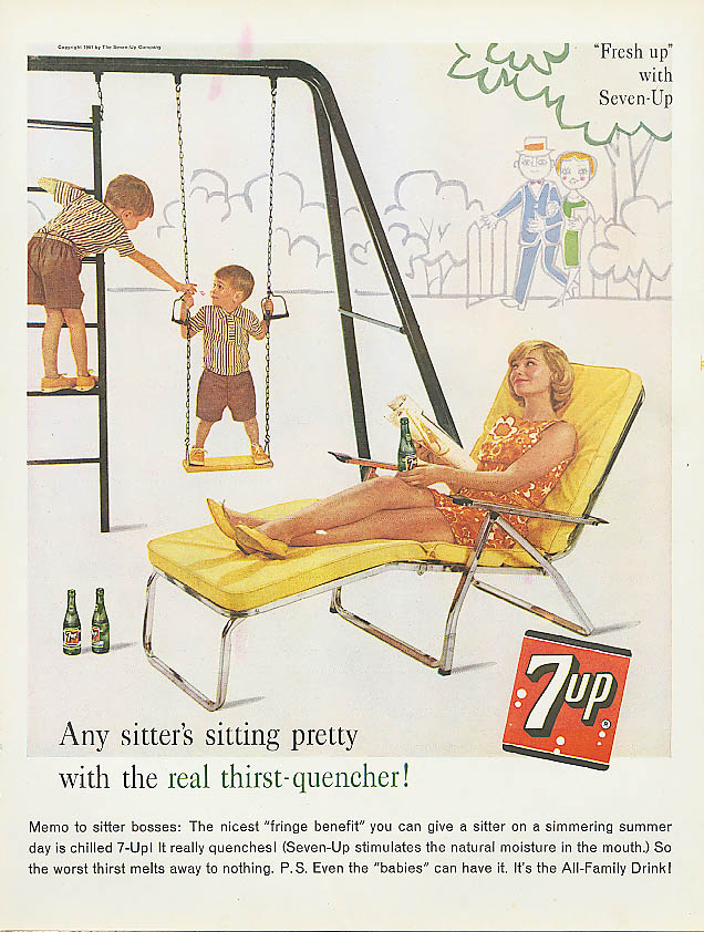 Image for Sitter's sitting pretty 1961 7up ad swing set chaise