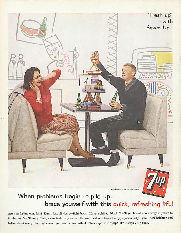 Problems pile up 1961 7up ad malt shop balancing act