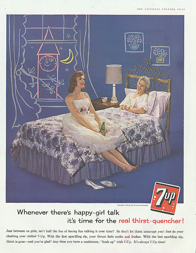Happy-girl talk 1961 7up ad girl & mom after date