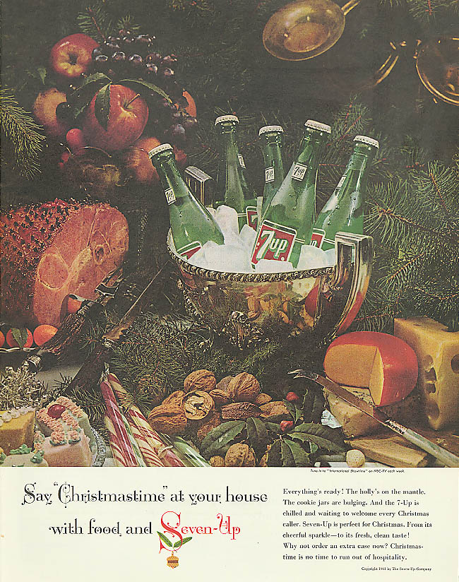 Say Christmastime with food & 7up ad 1961 ham cheese