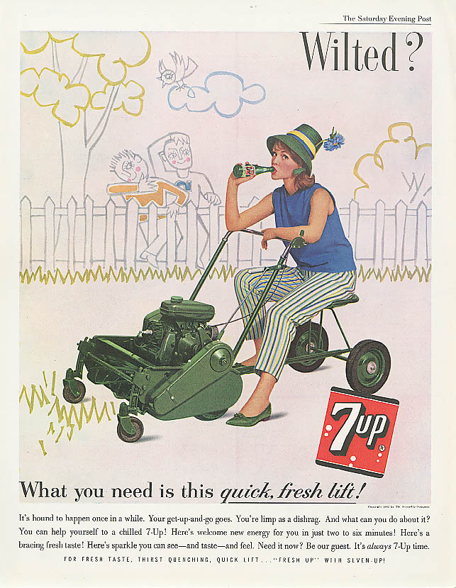 Image for Wilted? 1962 7up ad woman on riding lawn mower