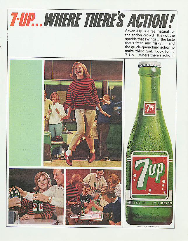 Image for Where there's action! 1965 7up ad bowling alley gang
