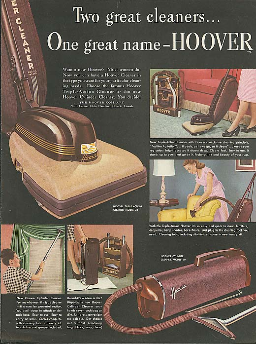 Image for Two great cleaners One great name Hoover vacuum ad 1947