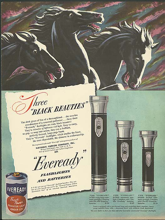 Image for Three black beauties Eveready Flashlight ad 1948
