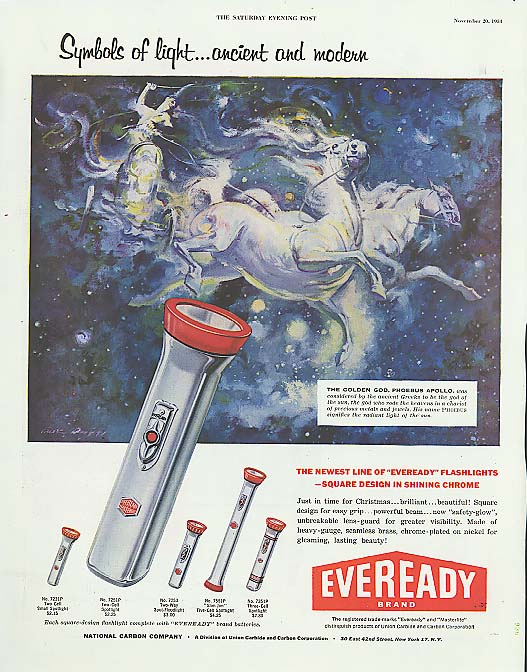 Symbols of light Phoebus Eveready Flashlight ad 1954