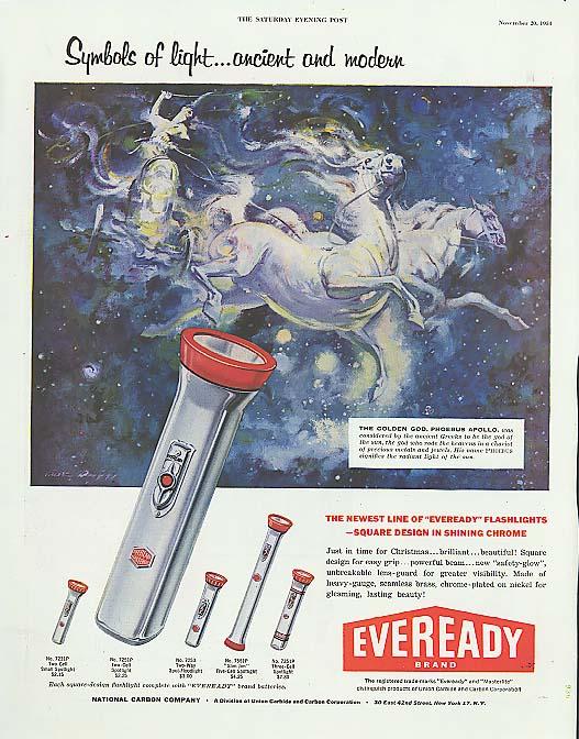 Symbols of light Phoebus Eveready Flashlight ad 1954