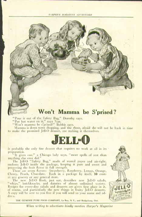 Won't Mamma be S'prised? Jell-O 10c a package ad 1917 Rose Cecil O'Neill art
