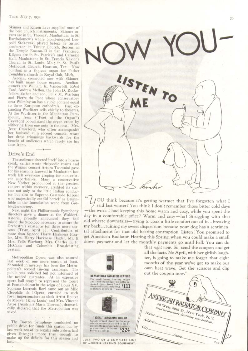 Image for Now You Listen to Me American Radiator ad 1934 Thurber