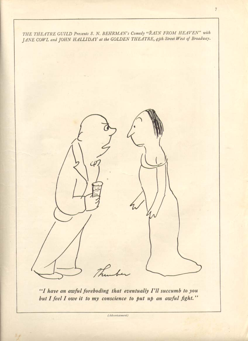 Behrman's Rain from Heaven ad James Thurber 1935 #1