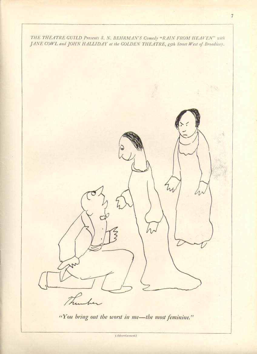 Behrman's Rain from Heaven ad James Thurber 1935 #2
