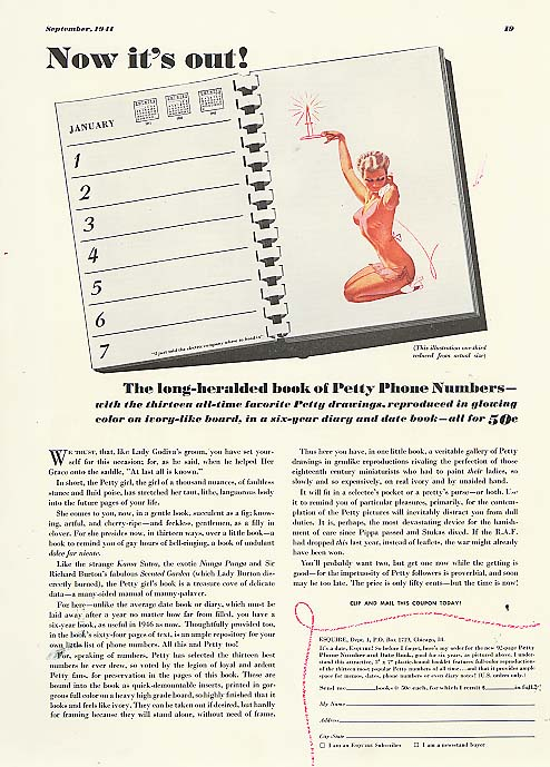 Image for Now it's out! Esquire Date Book ad 1941 George Petty
