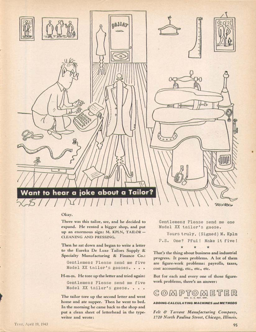 A joke about a tailor Comptometer ad 1943 Steinberg