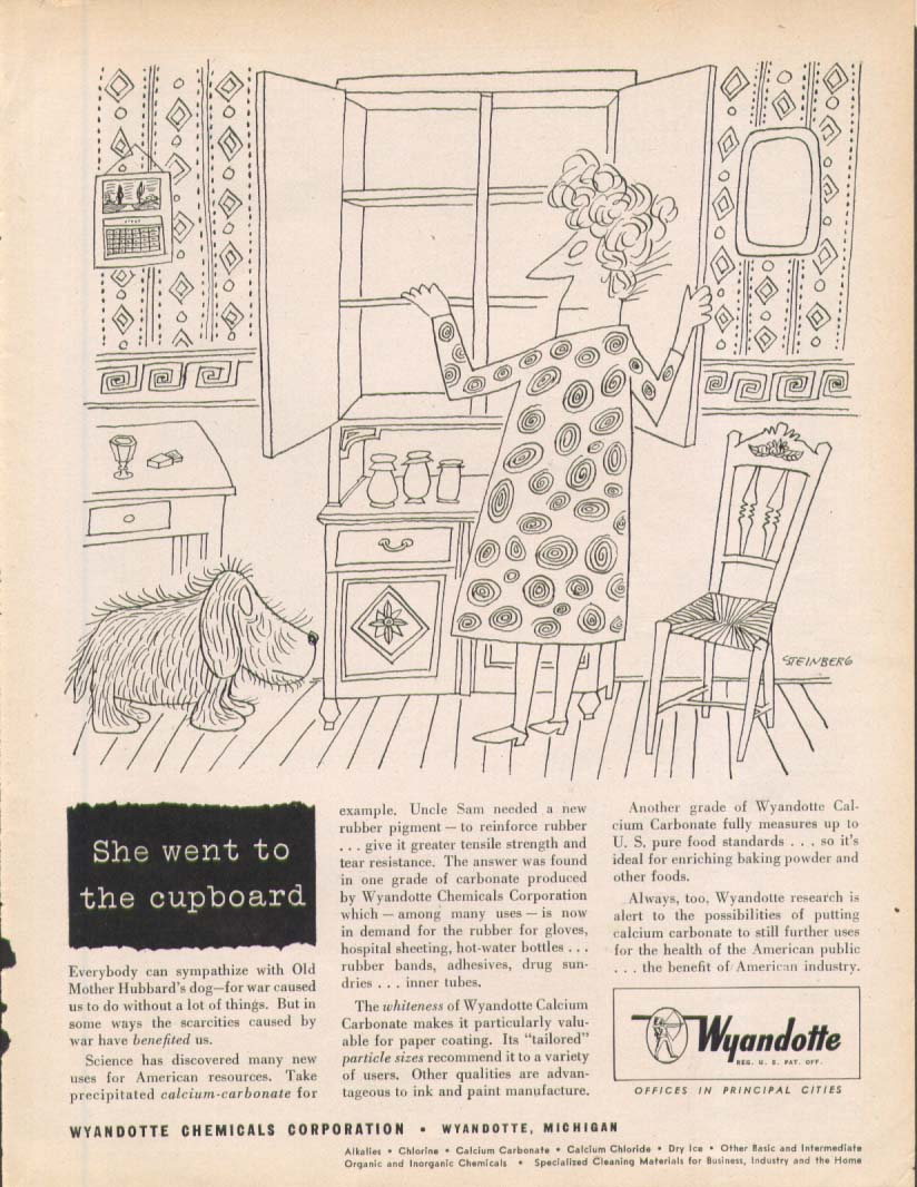 Image for She went to cupboard Wyandotte ad 1945 Steinberg