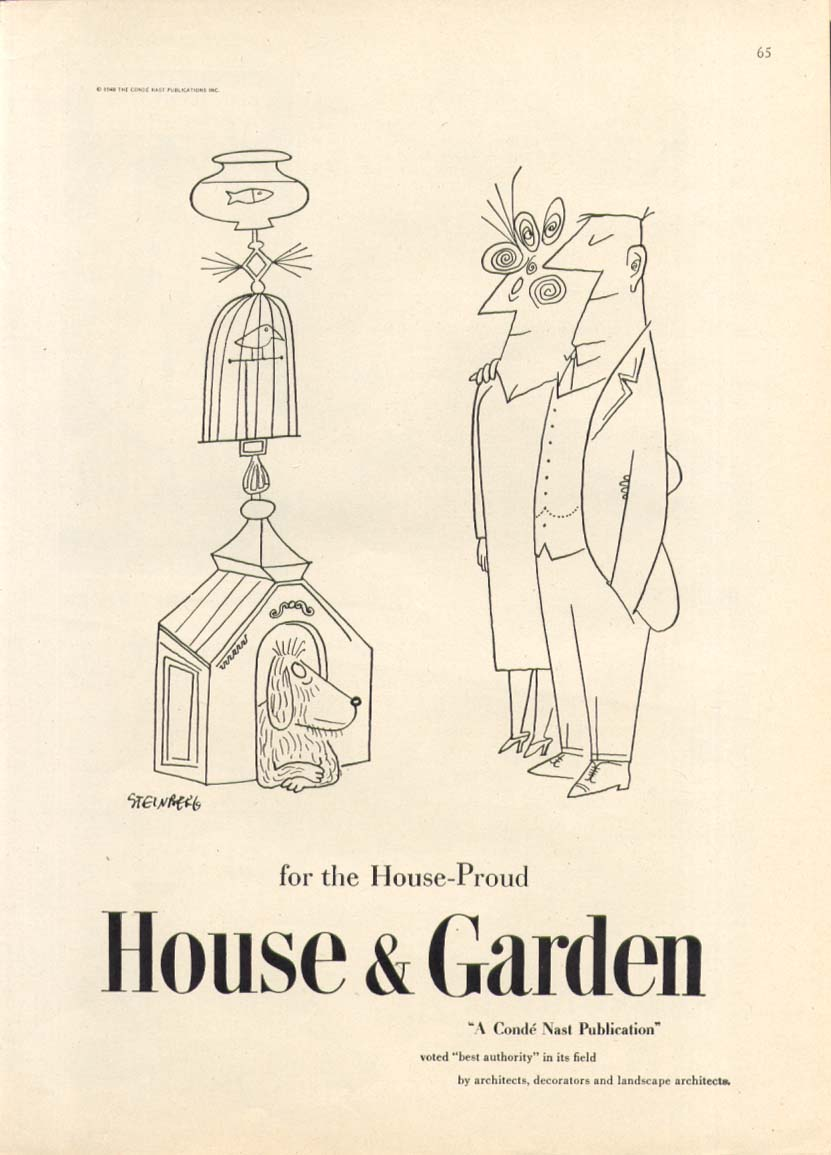 3 pet house tower House & Garden ad 1948 Steinberg