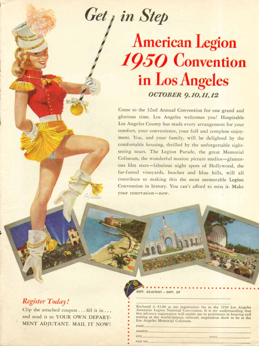American Legion Convention Los Angeles Fritz Willis majorette pin-up ad 1950