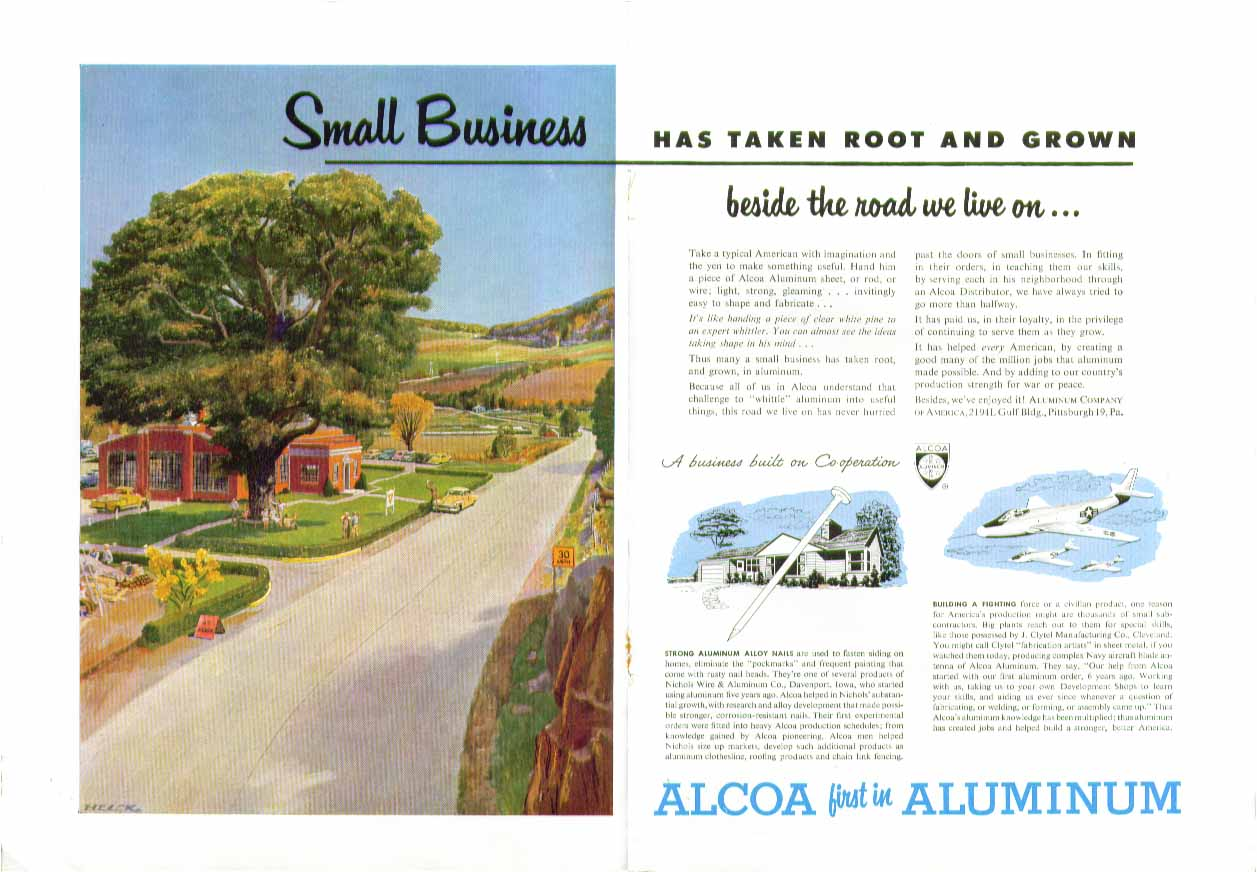 Small Business has taken root & grown Alcoa Aluminum ad 1951 Peter Helck art