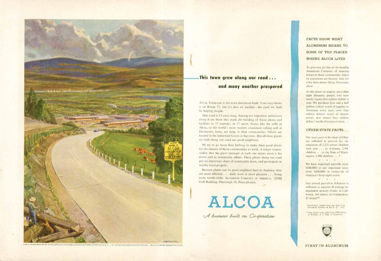 This town grew along our road Alcoa Aluminum ad 1951 Peter Helck art