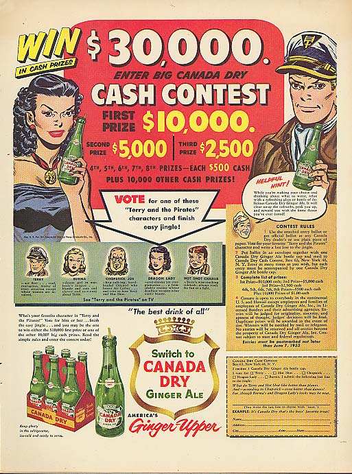 Terry & the Pirates $30,000 Contest Canada Dry ad 1953 George Wunder