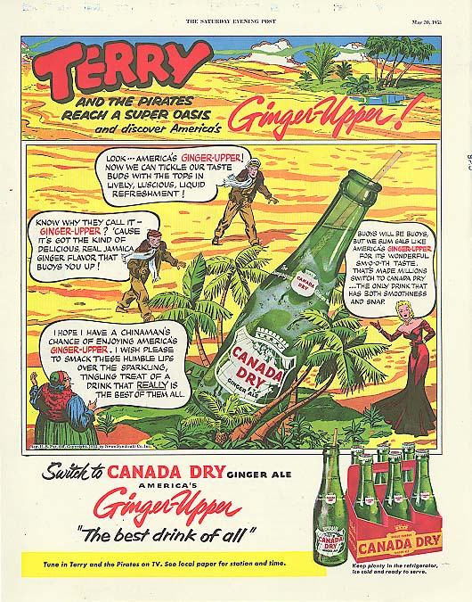 Terry & the Pirates Reach Super Oasis Canada Dry ad 1953 George Wunder