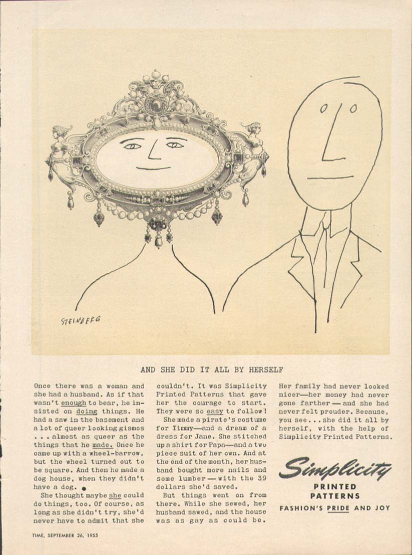 2 faces 1 in frame Simplicity ad 1955 Steinberg