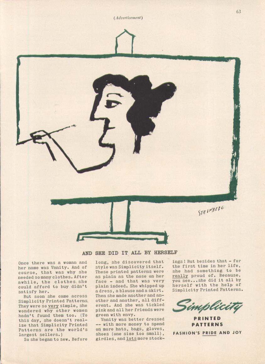 Image for Vanity self-portrait Simplicity ad 1955 Steinberg