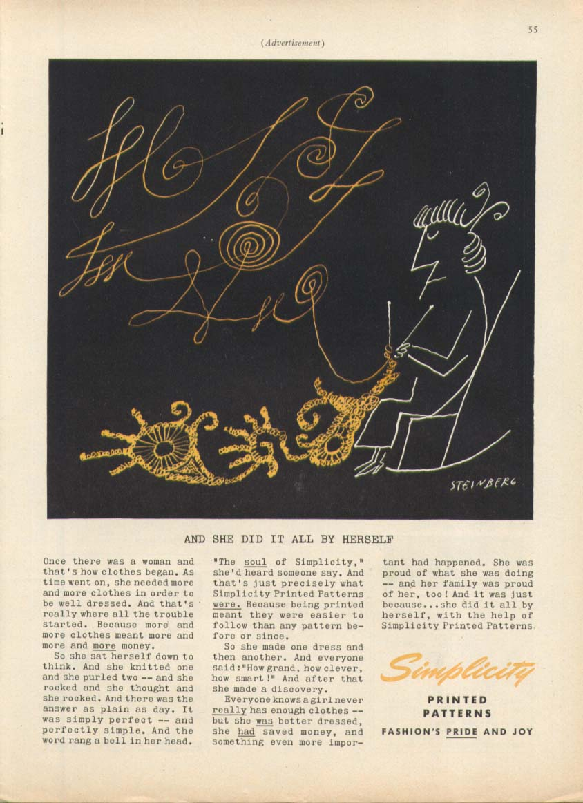 Image for Knitting granny in rocker Simplicity ad 1955 Steinberg