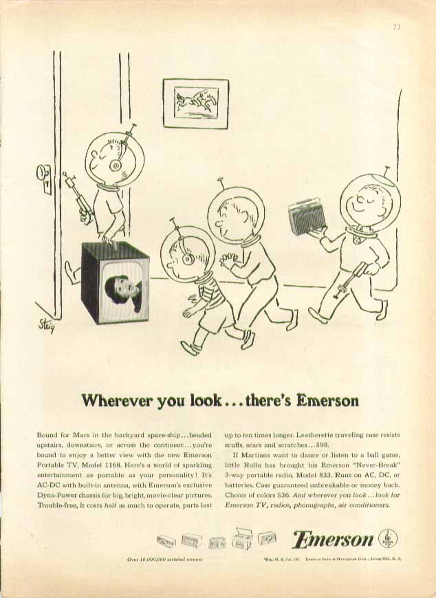 Wherever you look there's Emerson Television ad 1955 William Steig art