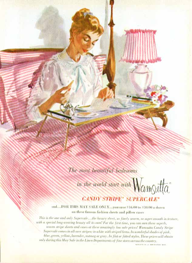 Wamsutta Candy Stripe Percale Sheets ad 1955 pin-up breakfast in bed