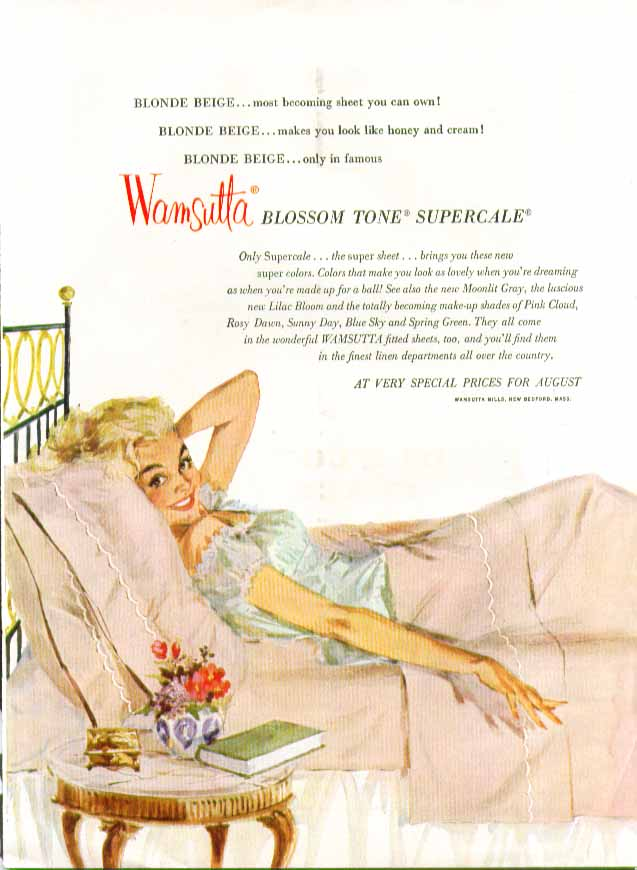 Wamsutta Blossom Tone Supercale Sheets ad 1955 pin-up negligee blonde smile