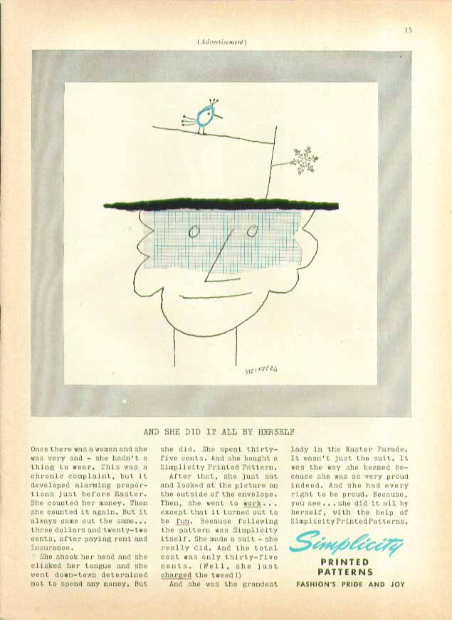 Once there was a woman: bird on hat Simplicity Patterns ad 1955 Steinberg art