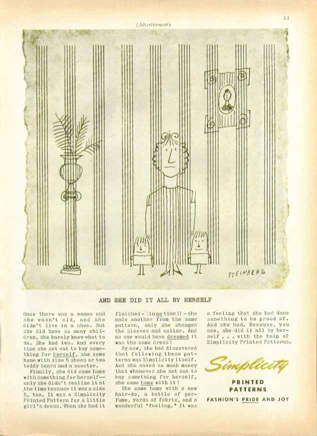 Once there was a woman: woman & kids Simplicity Patterns ad 1955 Steinberg art