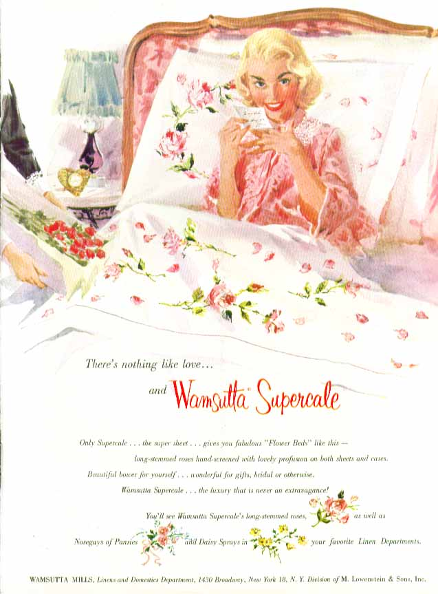 Image for There's nothing like love Wamsutta Percale sheets ad 1956 pin-up blonde roses
