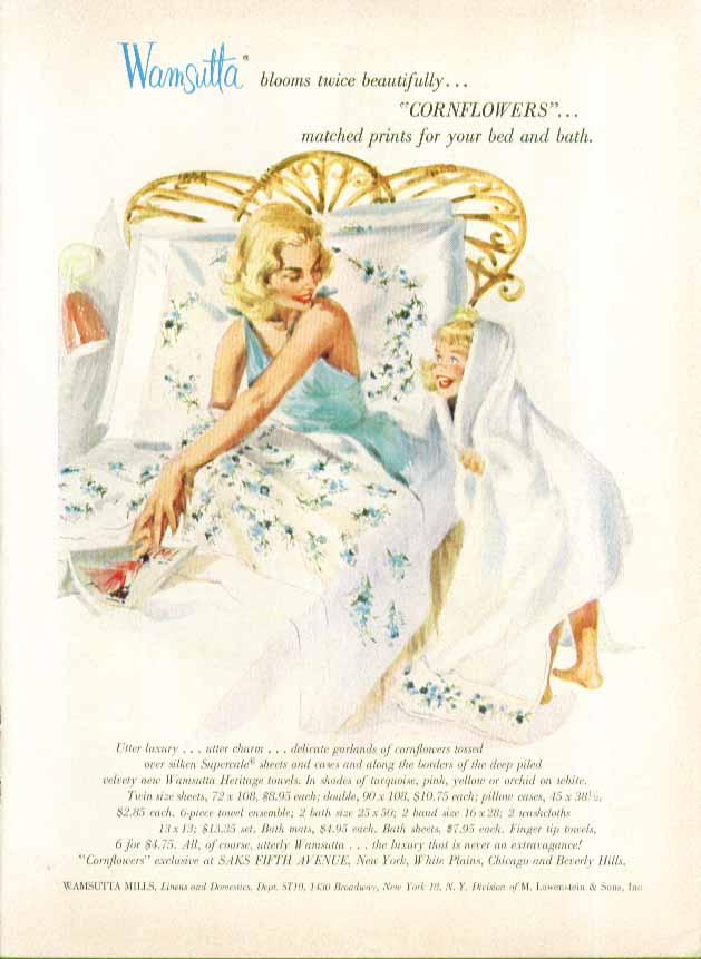 Wamsutta Cornflowers sheets ad 1956 pin-up blonde negligee + girl in towel