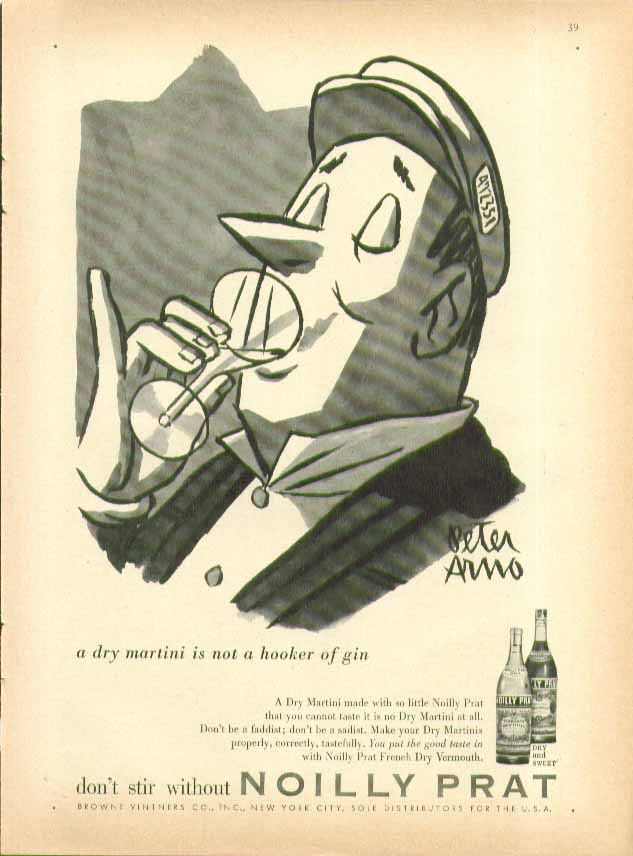 Image for A dry martini is not a hooker of gin Noilly Prat ad 1956 Peter Arno art cabbie