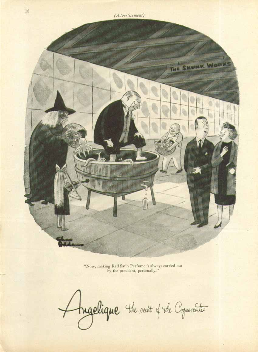 Image for Making Red Satin Perfume Angelique ad 1956 Chas Addams art 1956