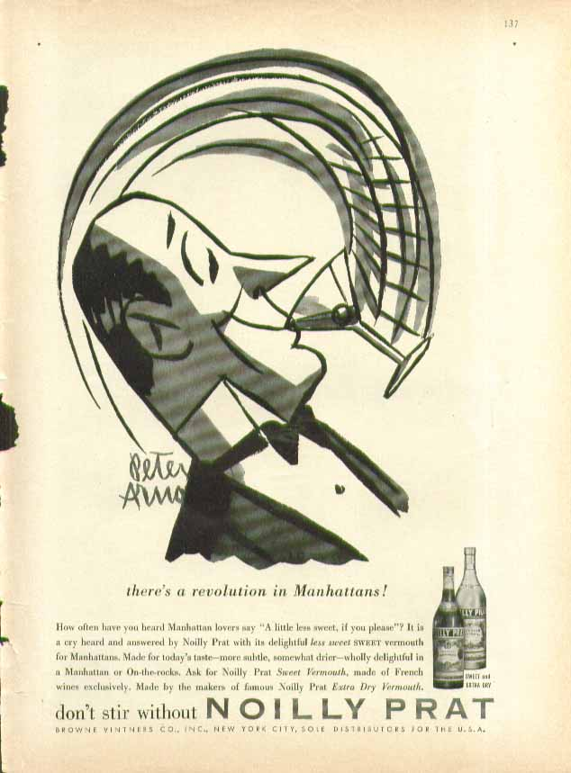 There's a revolution in Manhattans Noilly Prat ad 1957 Peter Arno art