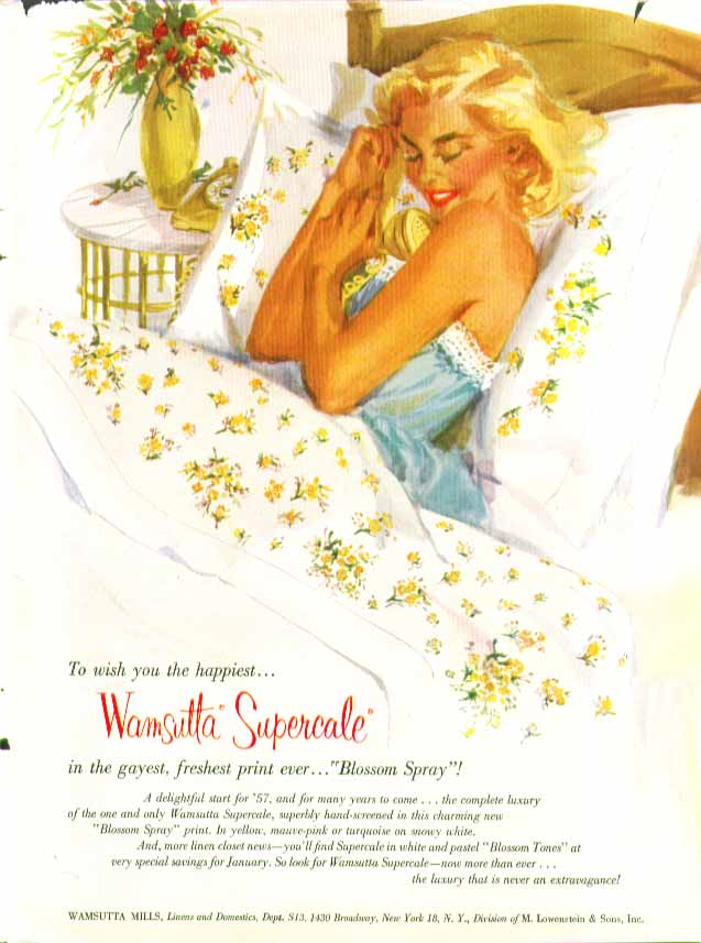 Wamsutta Blossom Spray Percale Sheets ad 1957 pin-up blonde negligee on phone