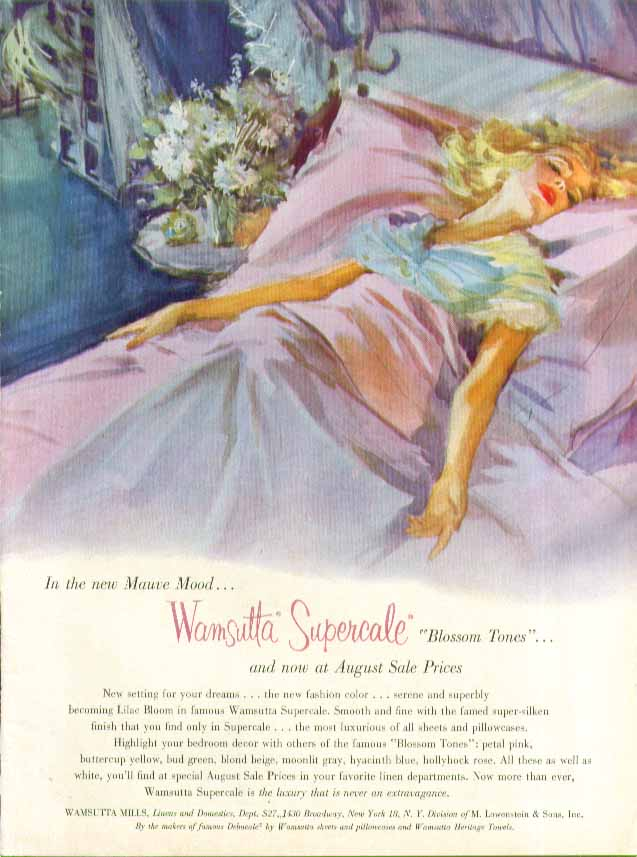 Wamsutta Supercale Mauve Mood sheets ad 1957 pin-up blonde negligee ecstasy
