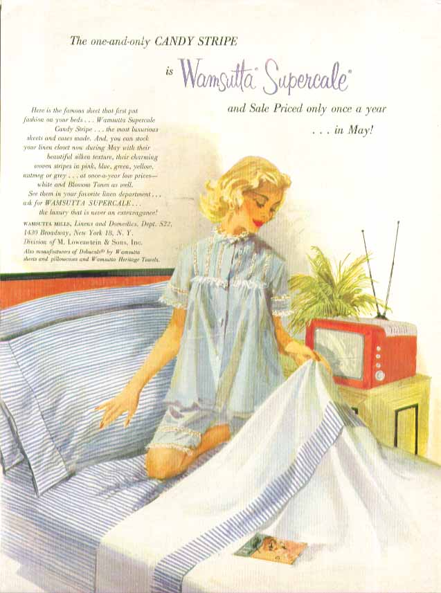 Wamsutta Supercale Candy Stripe Sheets ad 1957 pin-up blonde shorty nightie TV