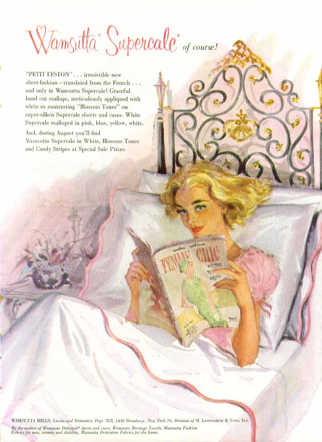 Wamsutta Percale Sheets ad 1958 pin-up blonde negligee in round bed
