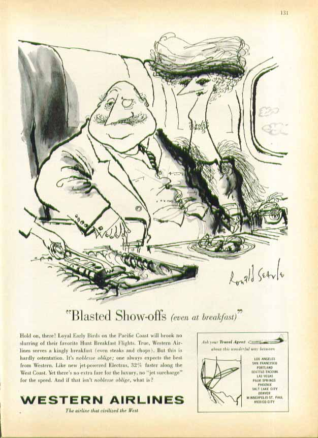 Blasted show-offs even at breakfast Western Airlines ad 1960 Ronald Searle