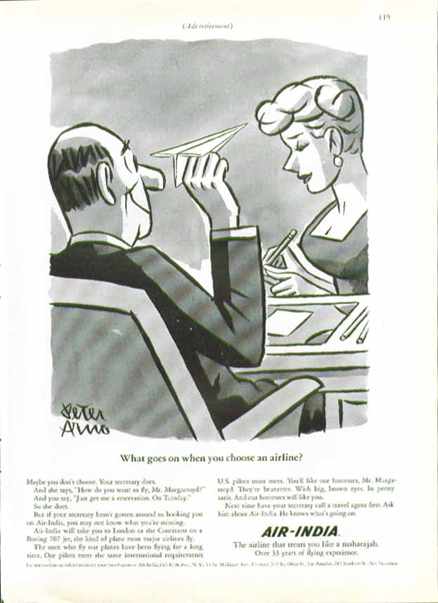 What goes on when you choose an airline? Air-India ad 1966 Peter Arno art