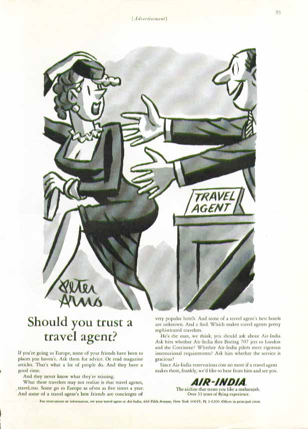 Image for Should you trust your travel agent? Air-India ad 1966 Peter Arno art